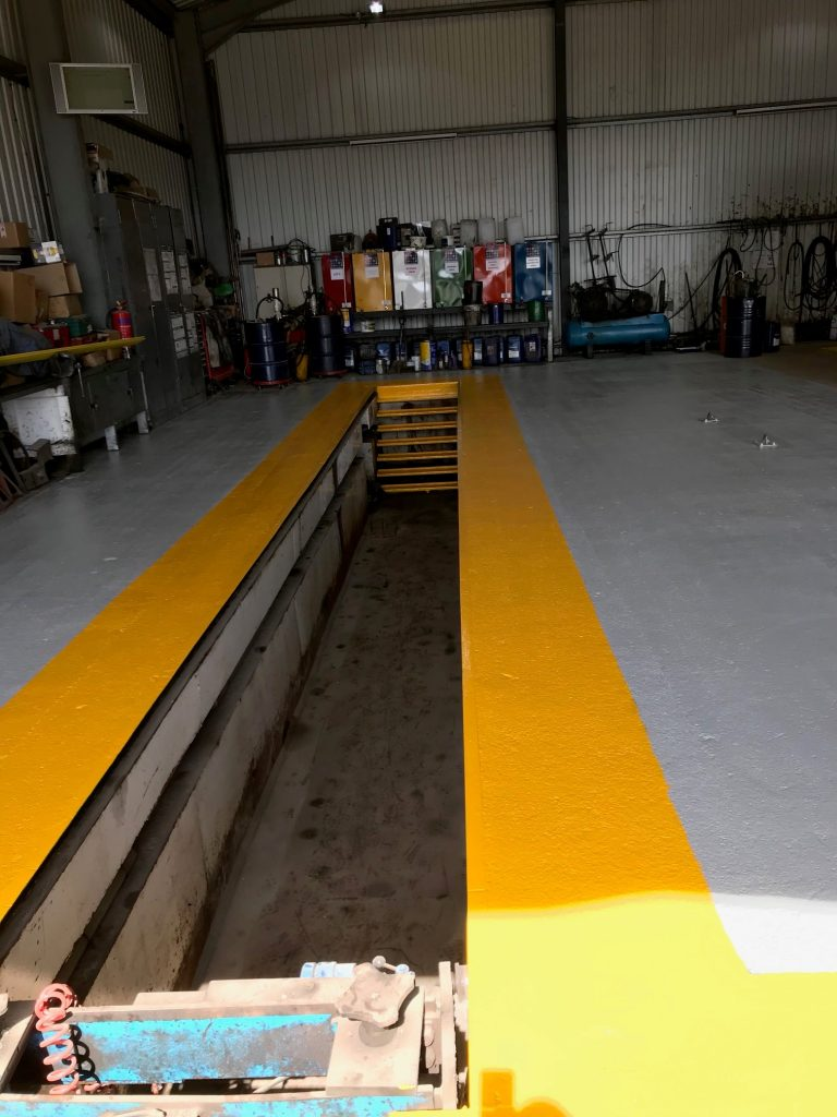 Redwood Commercials Workshop floor painted with Koverflor
